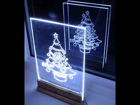How to make acrylic led Christmas tree edge light sign / decoration - default