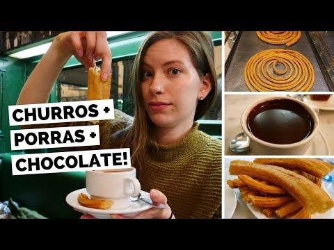 Eating Churros in Madrid, Spain at Chocolatería San Ginés