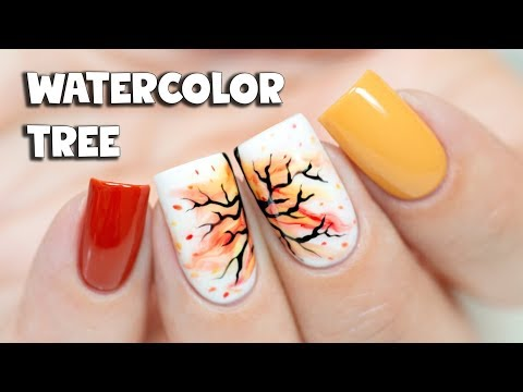 WATERCOLOR FALL TREE NAIL ART