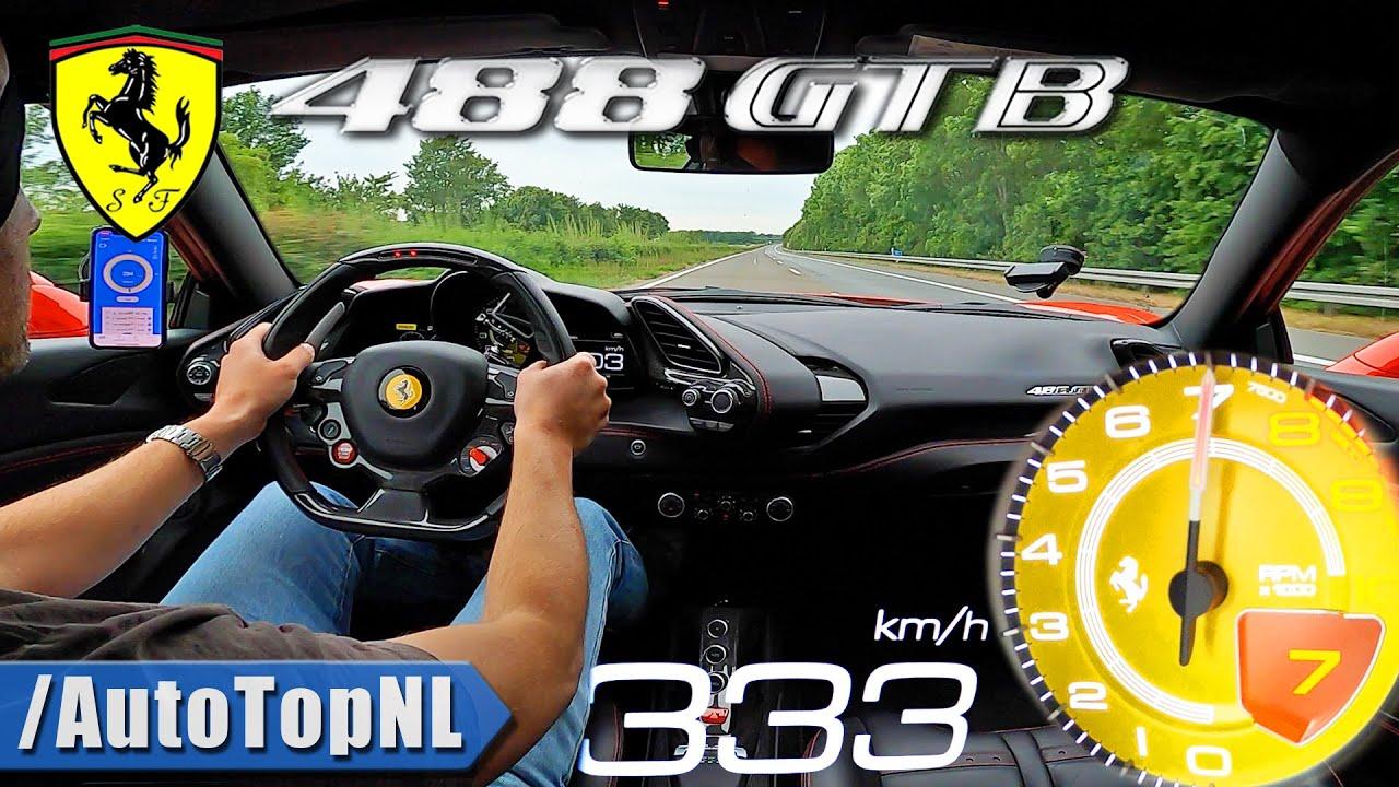 Ferrari 488 GTB *333KM/H* LAUNCH CONTROL & TOP SPEED on AUTOBAHN [NO SPEED LIMIT] by AutoTopNL