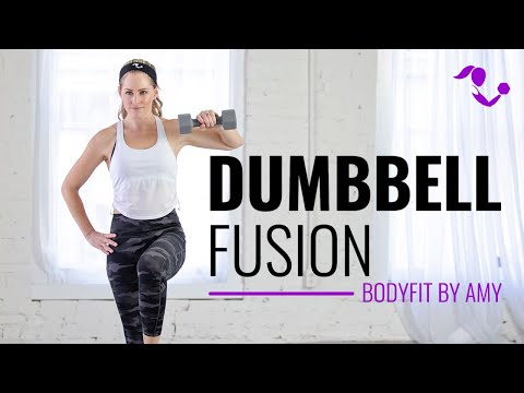 35 Minute Dumbbell Fusion Workout:  Home exercises for strength, cardio and mobility.