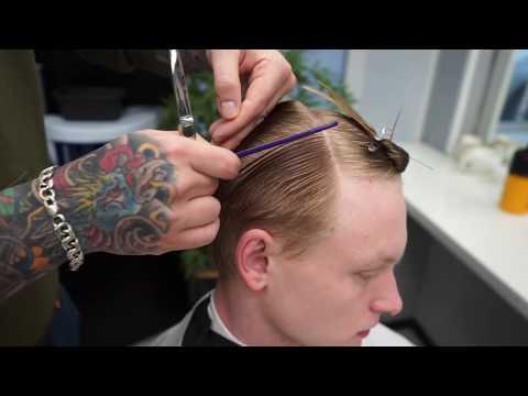 Classic men's medium length haircut with shear & clipper /Fade /Мужская стрижка photo