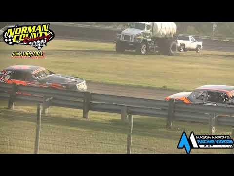 Norman County Raceway IMCA Hobby Stock Races (6/10/21) - dirt track racing video image