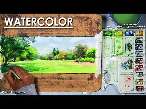 Watercolor Landscape Painting : A Bright Sunny Day | step by step