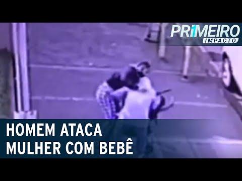 Homem ataca mãe com carrinho e tenta jogar bebê no chão | Primeiro Impacto (22/07/21)