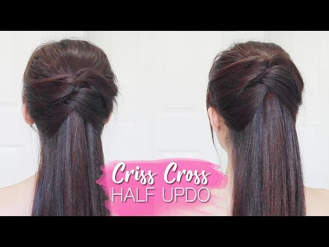 Criss Cross Half Updo Hair Tutorial | Prom Hairstyles