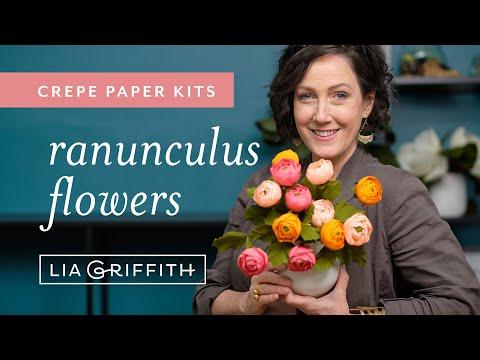 Crepe Paper Ranunculus Flower Kit (full tutorial)