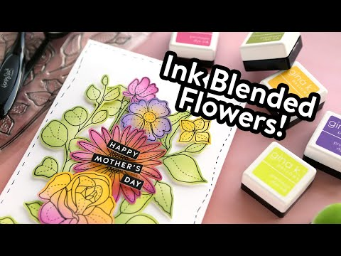Ink Blended Flowers (Mother's Day Card)