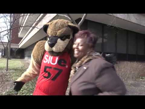 SIUE's Eddie the Cougar Spreads the Love on Valentine's Day!