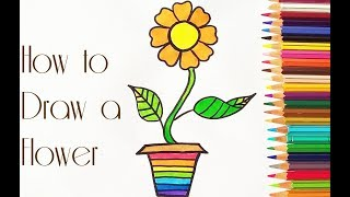 Simple Flower drawing for kids// Colouring and Drawing Rainbow flower pot for kids/ Drawing for kids