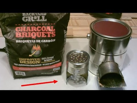 """Homemade BBQ Grill! """"Charcoal-Fueled"""" Rocket Stove! (wood-to-coal conv.) - STEEL CAN BBQ/STOVE - DIY"""
