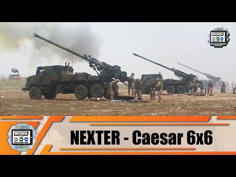 6x6 wheeled self-propelled howitzer 155m CAESAR Nexter Systems truck with artillery systems France