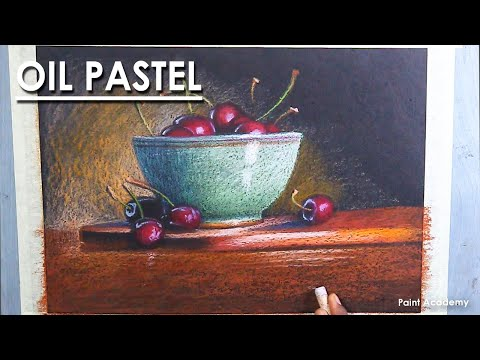 Oil Pastel Still Life Drawing : Bowl of Cherries | step by step technique