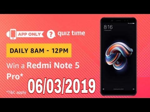 amazon quiz contest today answer | win redmi note 5 pro | 6 March 2019