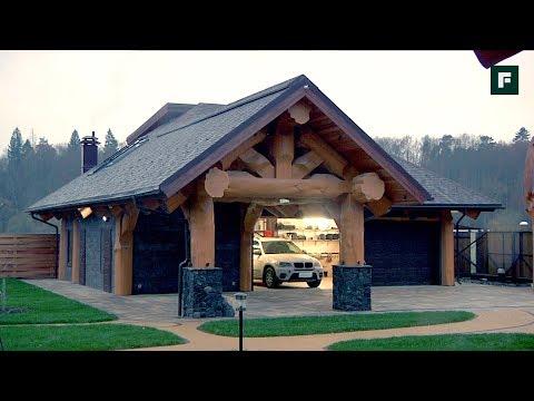 Рубленый гараж с котельной и жилой мансардой // FORUMHOUSE