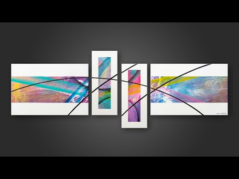 Intuitive abstract painting on 4 canvas with acrylic paint | Luce