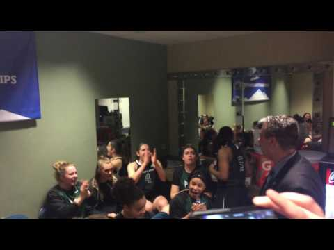 Portland State Women's Basketball locker room after big win