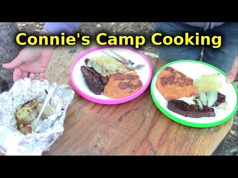Campfire Cooking - Bread, Moose Steak, Baked onion And Peach Cobbler