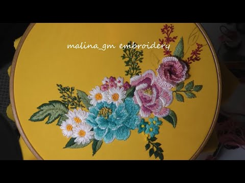 Blue rose and flower cocktail | Hand Embroidery