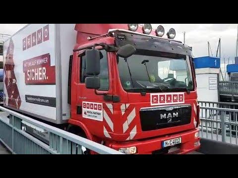 Cramo Verkehrssicherungs-Truck auf der Fähre bei Konstanz