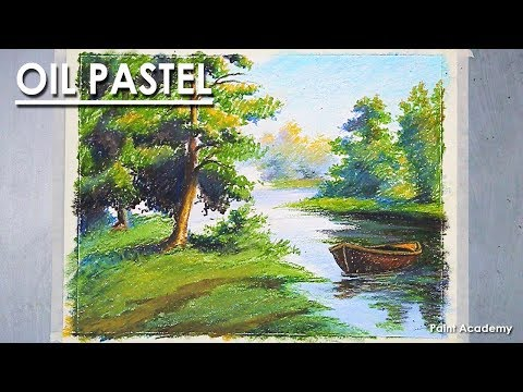 Landscape Drawing in Oil Pastel- Floating boat near the River | step by step shading