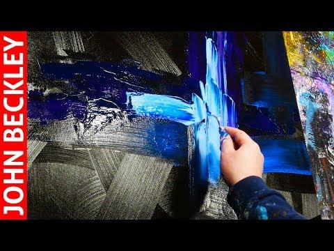 Peinture acrylique - Démonstration peinture abstraite au couteau | Brut