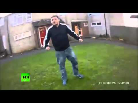 UK Police take down and arrest knife wielding attacker