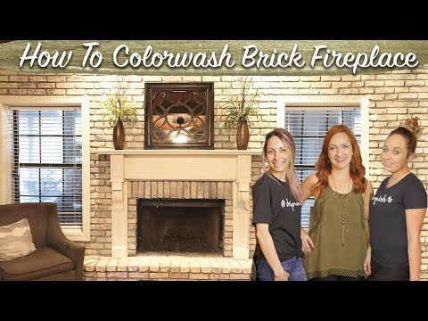 WHITEWASH BRICK FIREPLACE *NEW*   Colorwashing Technique   Indoor Fireplace DIY Under $10
