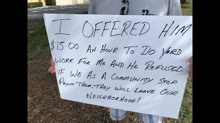 CAUGHT ON CAMERA: Business owner offers homeless man job paying $15 an hour, when man refuses, table