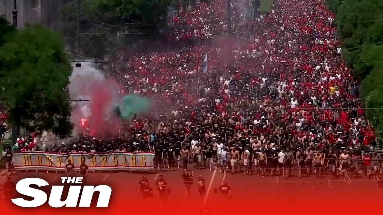 Thousands of football fans march to Hungary's Euro 2020 clash against France