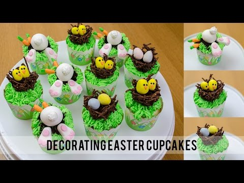 Easter Cupcakes with bunnies and bird nests | Simply Dovie