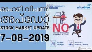 Stock Market Updates 7-8-2019/Malayalam/Nifty/Sensex/NSE/BSE/MS