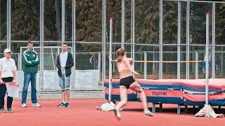 Athlete Failing High Jump Stock Video