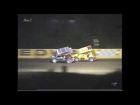 Full race from the Interstate Racing Association Sprint Cars at Hartford Speedway Park in MI August 4, 2000. Blake Feese holds off Brett Mann to take the feature win. - dirt track racing video image
