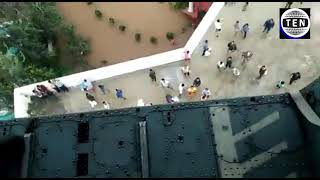 Sangli Flood | Indian Air Force helicopter distributing relief material | Live Video