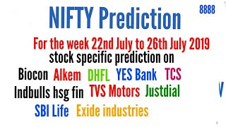 NIFTY Prediction for the week 22nd July to 26th July, 2019 | stock specific Predictions | Tarot Card