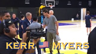 Kerr watches Team USA drills for 5 mins; chats with Kuzma; Bob Myers appears with Danny Ainge