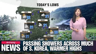 Passing showers across much of S. Korea, warmer highs_071619