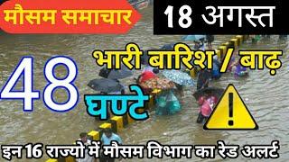 आज 18 अगस्त 2019 का मौसम की जानकारी ! Mausam ki Jankari August ka mausam vibhag aaj Weather News