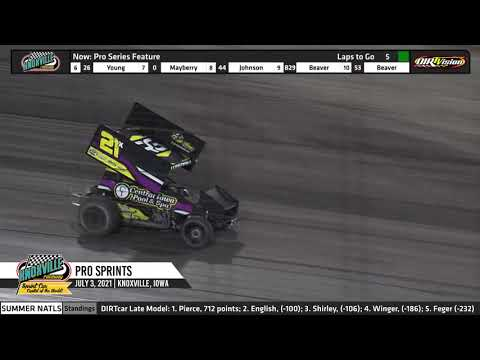 Knoxville Raceway - Pace Pro Sprints Highlights - July 3, 2021 - dirt track racing video image
