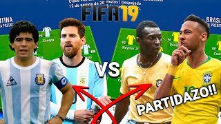 MESSI Y MARADONA VS. NEYMAR Y PELÉ EN FIFA 19!