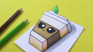 Como convertir un Dibujo 2D a 3D Truco 🔴 Vaso de cafe Kawaii ► Easy Art