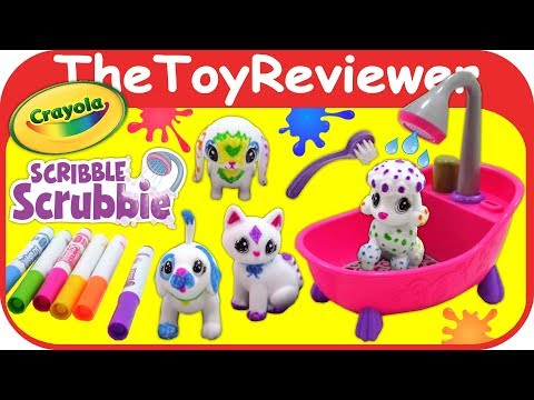 Crayola Scribble Scrubbie Pets Scrub Tub Playset Bath Color Unboxing Toy Review by TheToyReviewer - UCzEFLwtK1Kj2Afpl_8era4Q