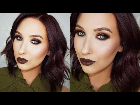 Brown Glitter Smokey Eye & Brown Lips Tutorial | Jaclyn Hill