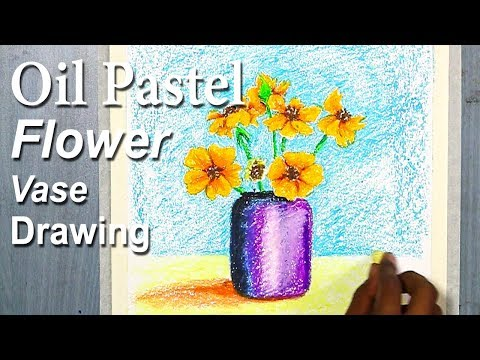 Simple Flower Vase Drawing for Beginners in Oil Pastel | step by step