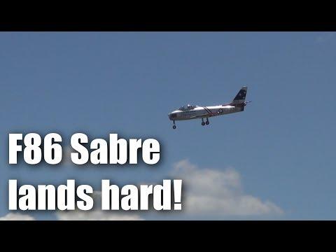 F86 Sabre turbine-powered RC plane has a pretty hard landing - UCQ2sg7vS7JkxKwtZuFZzn-g