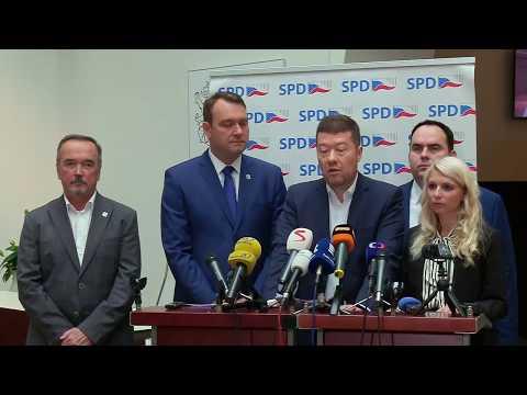 Tomio Okamura: Tisková konference poslaneckého klubu SPD 15.10.2019.