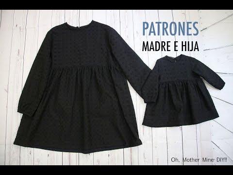 Patrones vestidos madre e hija (gratis en varias tallas)