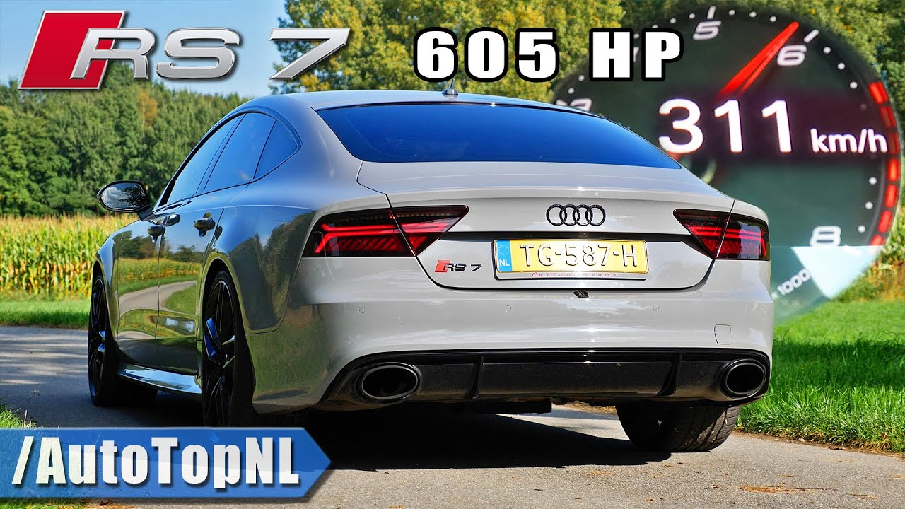 AUDI RS7 605HP | 0-310 & AKRAPOVIC DOWNPIPES SOUND by AutoTopNL