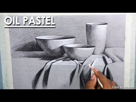 Oil Pastel Still Life Drawing : Dishes | step by step how to give strokes